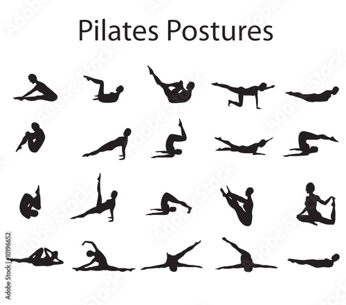 Photo  20 Various Pilates Postures Positions Vector Illustration