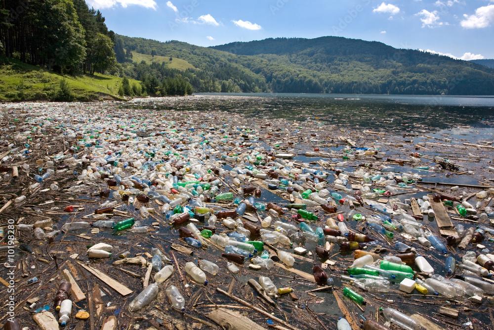 Fototapeta very important plastic and trash pollution on beautiful lake