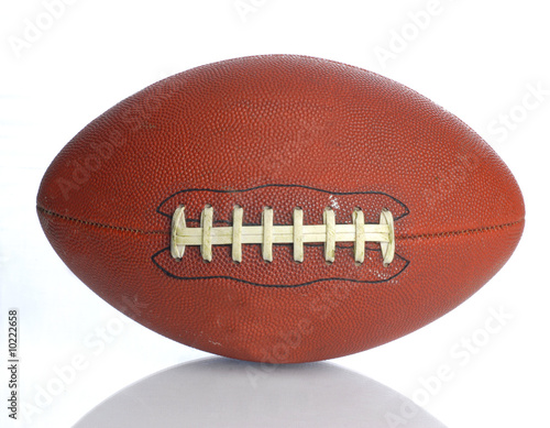 Fotobehang Wintersporten brown leather laced football isolated on white background