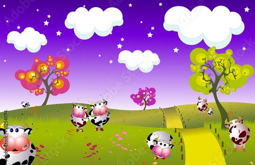 Papiers peints Lilas paysage avec des vaches