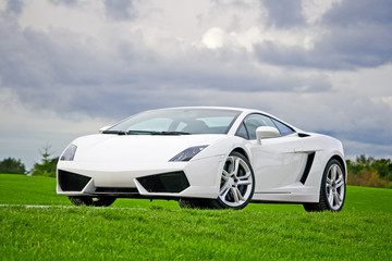 White high performance supercar in a meadow of golf club