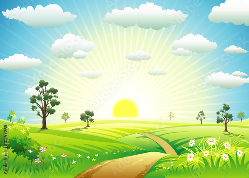 Garden Poster Pool Sunny Meadow landscape of vector illustration layered.