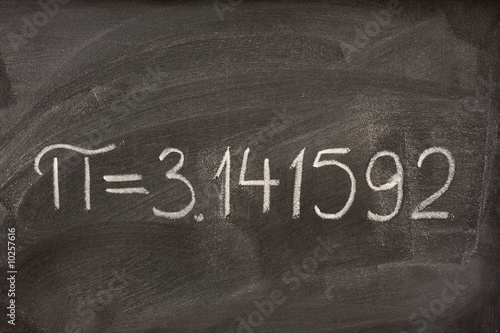 first seven digits of the number pi  on a blackboard
