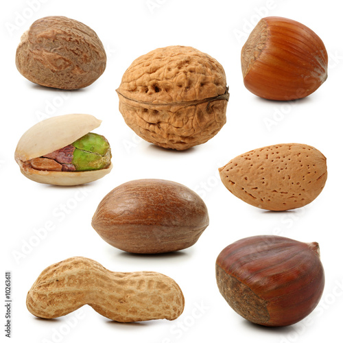 Fotografía  Nuts collection isolated on white background
