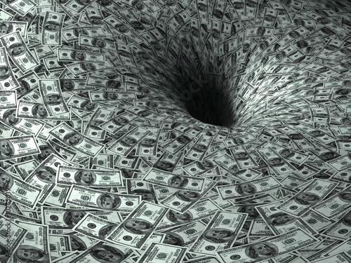 Fotografía  dollar's flow in black hole