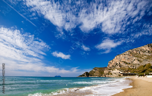 Stretches of sandy beach along the coast by Gaeta, Italy Tablou Canvas