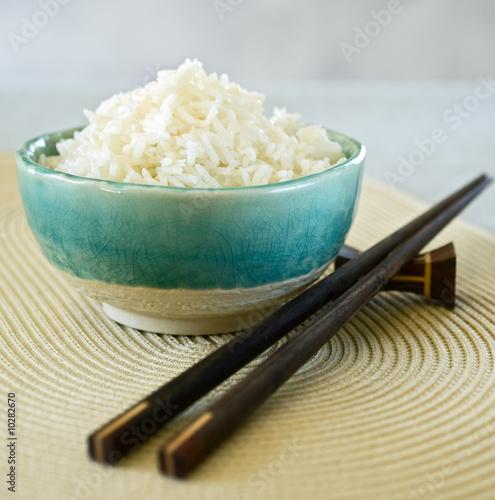 ceramic bowl with plain white rice Canvas Print