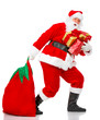 Happy Christmas Santa with gifts. Over white background.