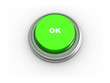 3d illustration of button with text 'ok' on white background