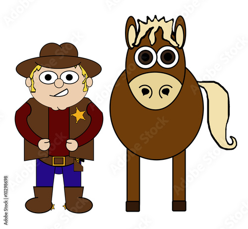 Aluminium Prints Wild West Cowboy & His Horse Cartoon - Isolated on white