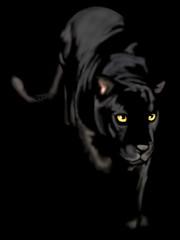Panel Szklany Pantera black panther of night