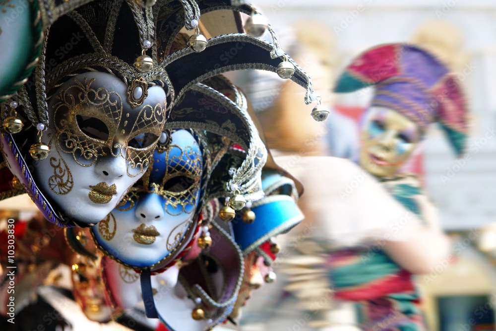 Fototapety, obrazy: Row of venetian masks in gold and blue