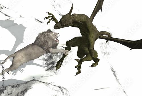 Poster Draken dragon vs white lion perfect for photoshop project
