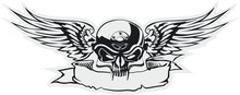 Vector Skull With Wings At Gra...