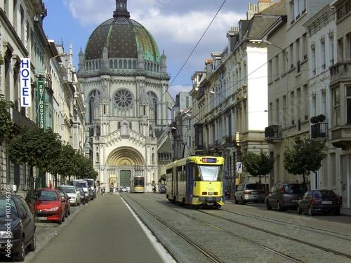 Poster Brussel tramway dans une rue à Bruxelles
