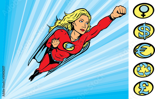 Foto op Canvas Superheroes Superheroine flying into action