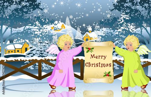 Fényképezés  Christmas celebrating angels