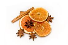 Cinnamon ,orange And Anise Isolated On White Background