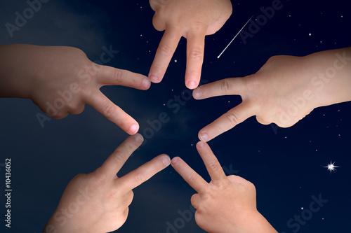 Photo Sternenhimmel und Kinderhände