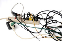 Dirty Old Power Strip Overloaded With Too Many Cords