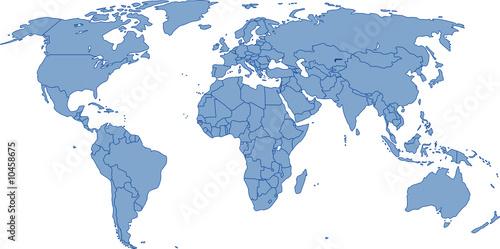 In de dag Wereldkaart Weltkarte - Vektor mit genauen Grenzen auf eigener Ebene