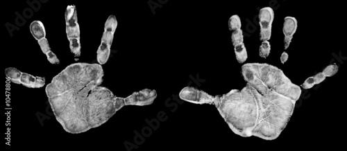 Fotografie, Obraz  Empreintes de mains d'enfant - Noir et blanc