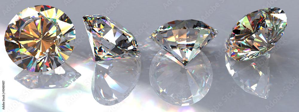 Fototapeta Four brilliant cut clear diamonds