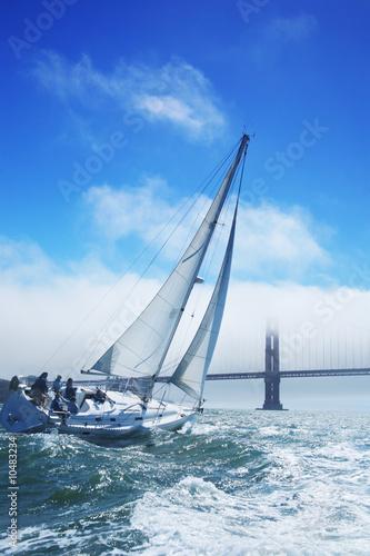 Fotografie, Obraz  Beautiful yacht in San Francisco bay