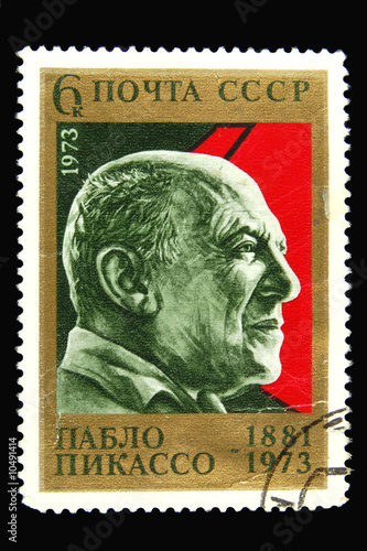 Cuadros en Lienzo  Old Soviet postage stamp with Pablo Picasso