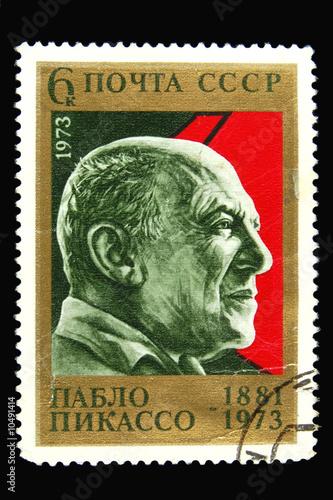 Fotografía  Old Soviet postage stamp with Pablo Picasso