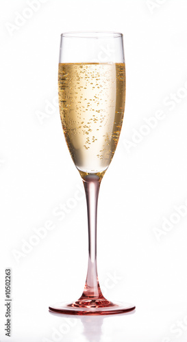 Champagne flute glass with pink crystal base