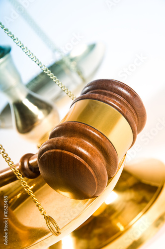 Fotografija  Wooden justice gavel and block with brass