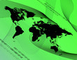 canvas print picture - A world map montage over a green background.
