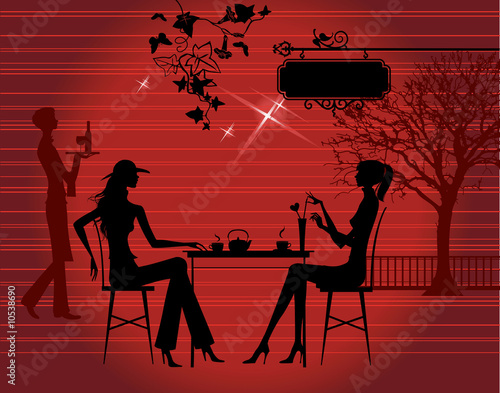 Silhouette of the couple in the cafe, vector illustration Wallpaper Mural