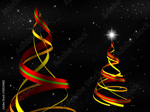 3d Render Abstract Christmas Tree Against Starry Sky