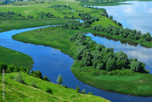 Foto op Canvas Rivier Landscape on the River Volga, Russia