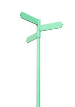 Three-directional Signpost Isolated Over White