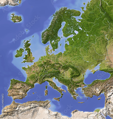 Fotografia  Shaded relief map of Europe, colored for vegetation.