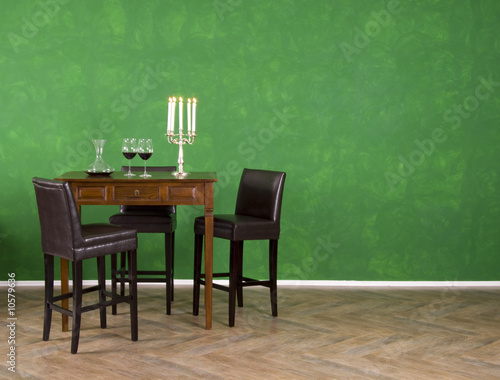 Bartisch Mit Grüner Wand Buy This Stock Photo And Explore Similar