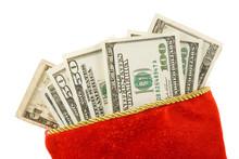 Christmas Stocking And Dollars