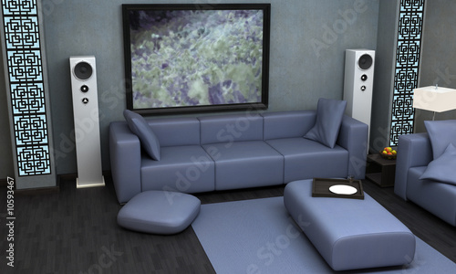 An interior Visualization of an Asian themed living room ...