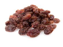 Pile Of Raisins Isolated On White Background.
