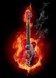Fototapeta Młodzieżowe - Fire guitar