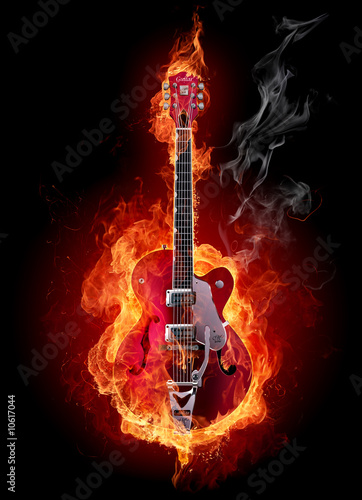 Aluminium Prints Flame Fire guitar