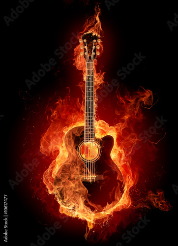 Stickers pour porte Flamme Fire guitar