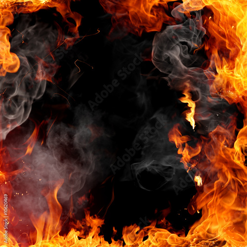Stickers pour porte Flamme Fire frame
