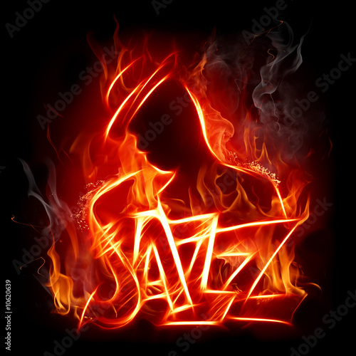 Stickers pour porte Flamme Jazz