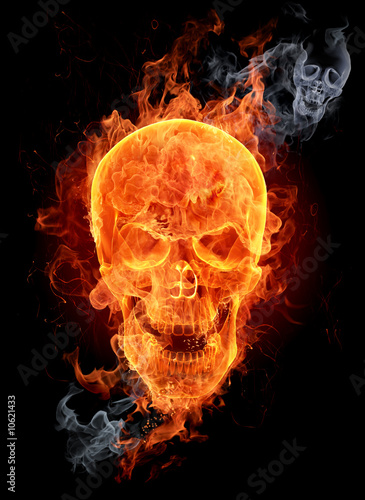 Stickers pour porte Flamme Fire skull