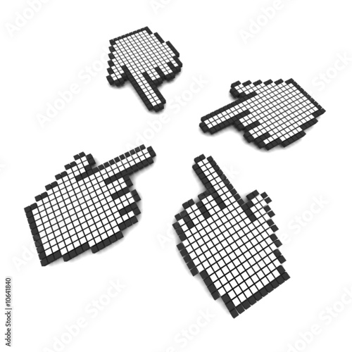 Foto op Aluminium Pixel Computer hand cursors 3d rendered illustration