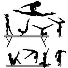 Female Gymnast Silhouette Bala...